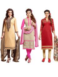Combo Of 3 Thankar Embroidered Semi Stitched Dress Material - thk-03