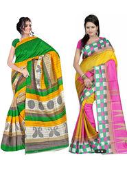Pack of 2 Thankar Printed Bhagalpuri Saree -Tds137-225.226