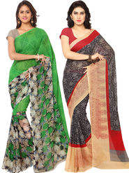 Combo of 2 Triveni Printed Art Silk Green Sarees -Tsco103