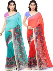 Combo of 2 Triveni Printed Art Silk Blue Sarees -Tsco112