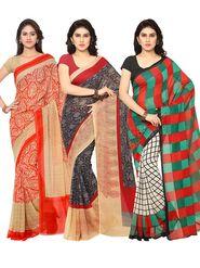 Combo of 3 Triveni Printed Art Silk Saree -Tsco73