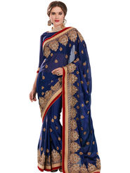 Triveni Embroidered Satin Chiffon Saree -Tsmz1058