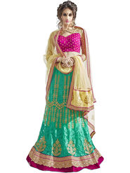 Triveni Embroidered Satin & Net Green Lehenga Choli-TSN82021