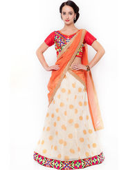 Triveni Printed Art Silk Semi Stitched Lehenga Choli_Ts13278