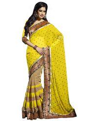 Triveni Chiffon-Faux Georgette Embroidered Saree - Yellow - TS700014b