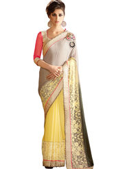 Triveni Faux Georgette Border Worked Saree - Yellow - TSN96004