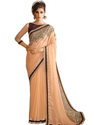 Triveni Faux Georgette Border Worked Saree - Peach - TSN96009