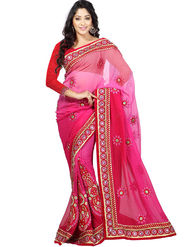 Triveni Faux Georgette Embroidered Saree - Magenta - TSSF9203