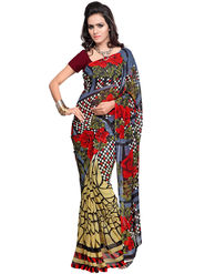 Triveni Faux Georgette Printed Saree - Multicolor - TSVE12985C