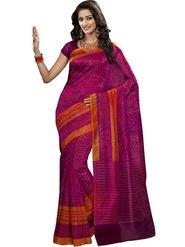 Triveni sarees Supernet Printed Saree - Magenta - TSBL2096
