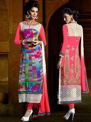 Viva N Diva Georgette Embroidered Dress Material - Multicolour