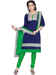 Viva N Diva Chanderi Cotton Embroidered Dress Material - Navy Blue
