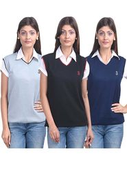 Pack of 3 Eprilla Spun Cotton Plain Sleeveless Sweaters -eprl17