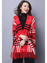 Yellow Tree Printed Woolen Red Women Stoles -ows03