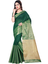 Zoom Fabrics Plain Cotton Silk Green & Gold Saree -Zm4017A