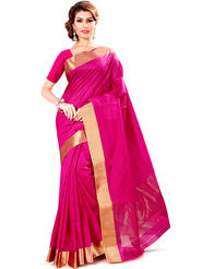 Zoom Fabrics Plain Cotton Silk Pink Saree -Zm4018C