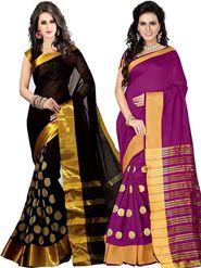 Combo of 2 Bhuwal Fashion Embellished Cotton Silk Designer Saree -bhl25