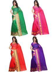 Combo of 4 Bhuwal Fashion Plain Polycotton Multicolor Sarees -bhl28