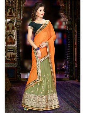 Orange and Green Chiffon Net Embroidered Saree with Dupioni Blouse Piece_JJ-SR-ADY-8016