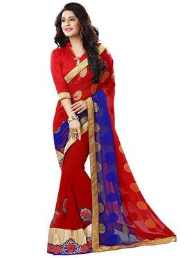 Nanda Silk Mills Red Georgette Embroidered Saree With Blouse Piece_Gitanjli-4401