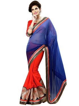 Nanda Silk Mills Multicolor Georgette Embroidered Saree With Blouse Piece_Enigma-4802