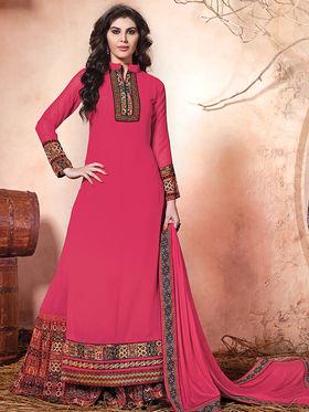 Viva N Diva Embroidered Pure Chanderi Silk Semi Stitched Suit 10018-Elnaa