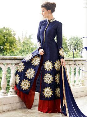 Viva N Diva Embroidered Raw Silk Semi Stitched Suit 10156-Lavish