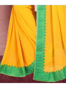 Viva N Diva Cut Work Border Georgette Saree -ja12