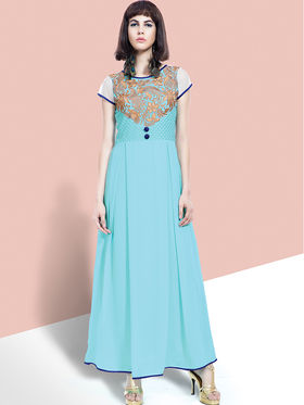 Viva N Diva Embroidered Faux Georgette Semi Stitched Salwar Suit -11088-Blush-06
