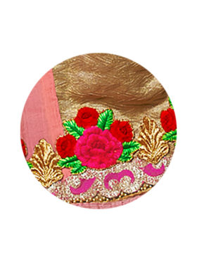 Indian Women Embroidered Georgette Pink Designer Saree -MG12305