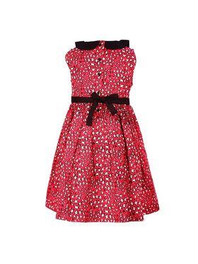 ShopperTree Cotton Plain Girls Dress - Red Above 4 Year