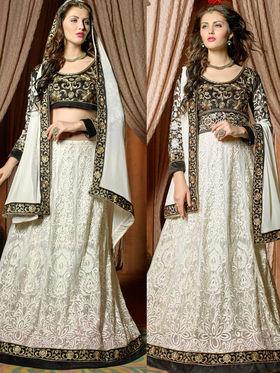 Viva N Diva Embroidered 2 in 1  Lehenga cum Anarkali Suit  - Off White & Black