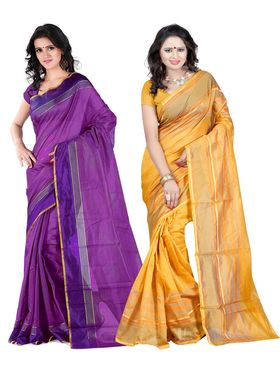 Combo Of 2 Carah Cotton Silk Plain Saree_CRH-N276