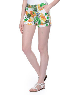 Lavennder Cotton Printed Ladies Short - White_LW-5144