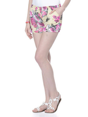 Lavennder Ladies Georgette Short With Lining - Cream_LW-5154