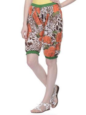 Lavennder Cotton Printed Ladies Capri Short - Multi_LW-5163