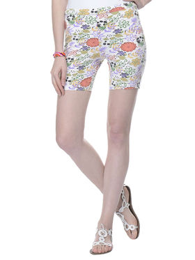 Lavennder Cotton Knitted Lycra Printed Short  - White_LW-5170