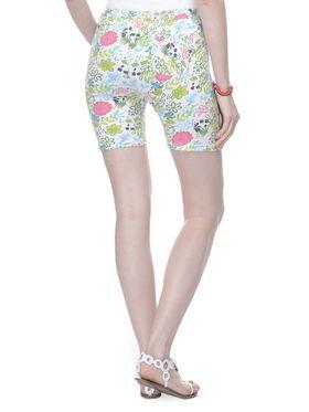 Lavennder Cotton Knitted Lycra Printed Short  - White_LW-5171