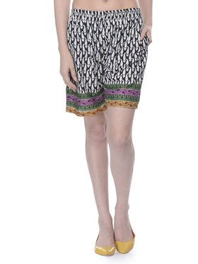 Lavennder Cotton Printed Ladies Short - Black_LW-5173