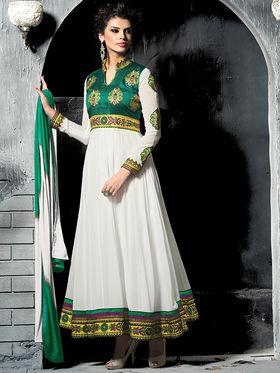 Viva N Diva Semi Georgette Embroidered Salwar Suit - Off White_Cosmos-13006