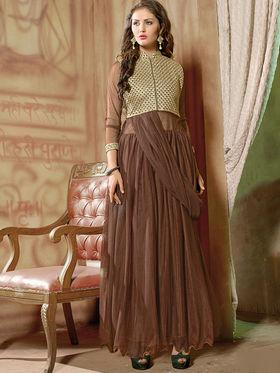 Viva N Diva Net  Embroidered Salwar Suit - Brown_Vedant-1006