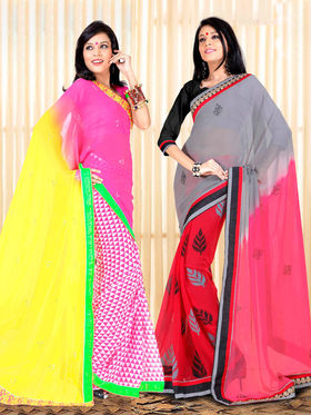 Pack of 2 Zoom Fabrics Embroidered Chiffon Saree_2714-A,2719-A