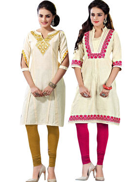 Pack of 2 Viva N Diva Emboridered� Khadi Cotton Kurti -vna04