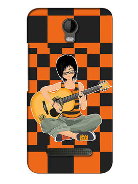 Snooky Digital Print Hard Back Case Cover For Micromax Bolt Q335 - Orange