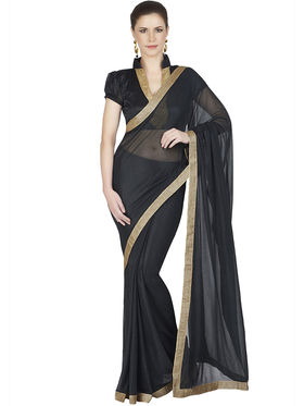 Designersareez Lycra Knitted Embroidered Saree -1868