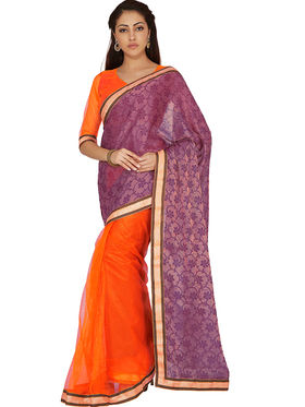 Designersareez Printed Net and Brasso Saree -2009