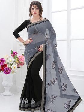 Indian Women Embroidered Net Grey & Black Designer Saree -GA20306