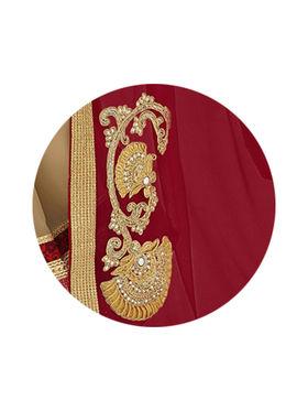 Indian Women Embroidered Moss Chiffon Maroon & Beige Designer Saree -GA20315