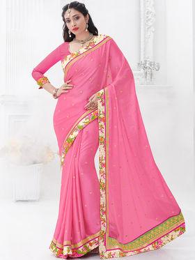 Indian Women Embroidered Satin Chiffon Pink Designer Saree -GA20317