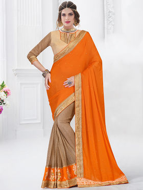 Indian Women Embroidered Satin Chiffon Orage & Gold Designer Saree -GA20332